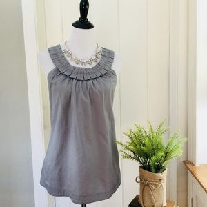 J CREW Light Grey Ruffled Sleeveless Top